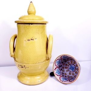 Yellow Tuscan Terra Cotta Vase with Lid  & handles